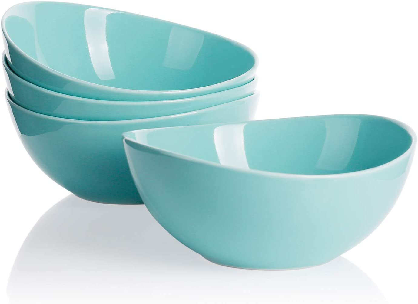 Sweese 103.402 Porcelain Bowls - 28 Ounce for Cereal, Salad and Desserts - Set of 4, Turquoise