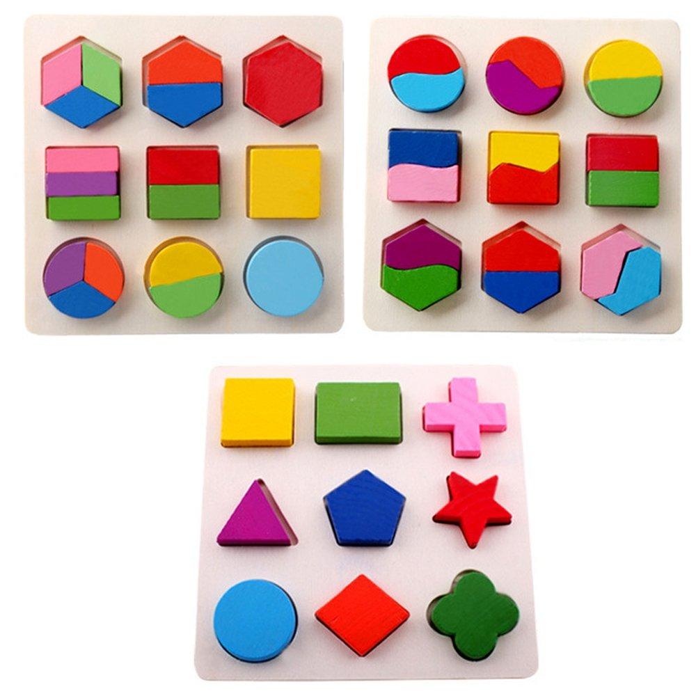 lizipai 3 pcs Baby Wooden Toy Kids Geometry Shape Jagsaw Puzzle Children Brain Training Montessori Intellectual Educational Toys