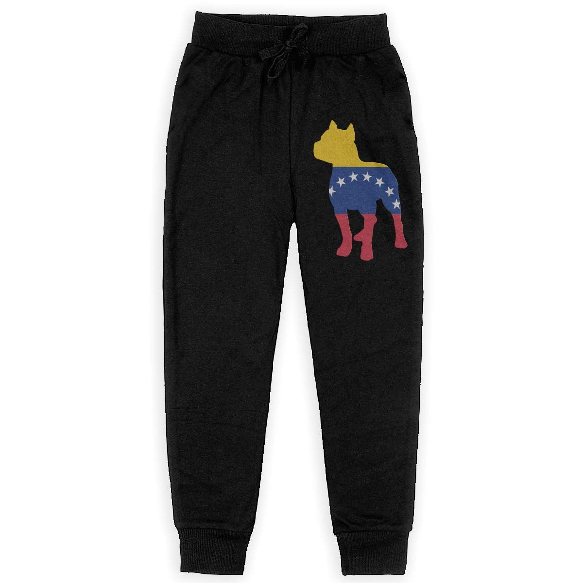 MAOYI/&J6 Patriotic Pitbull Venezuela Flag Long Sweatpants Teenager Boys Girls Jogger Pants with Drawstring