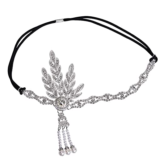 Garma 1920S Accessories Set for Women Flapper Costume Headpiece Gloves Necklace 5 Set Style 2