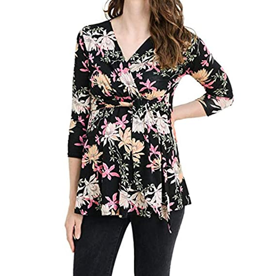 f9ac79e344299 Ladies Maternity Clothes Tunic Elegant Shirts Pregnancy Classic Spring  Autumn Floral Print Tops Long Sleeve T Shirt for Pregnant Women Tops Blouse  Casual ...