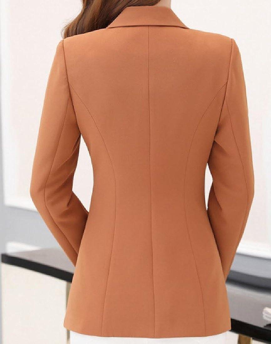 YUNY Womens OL Office Slim Tailoring Open Front Jacket Blazer Orange 3XL