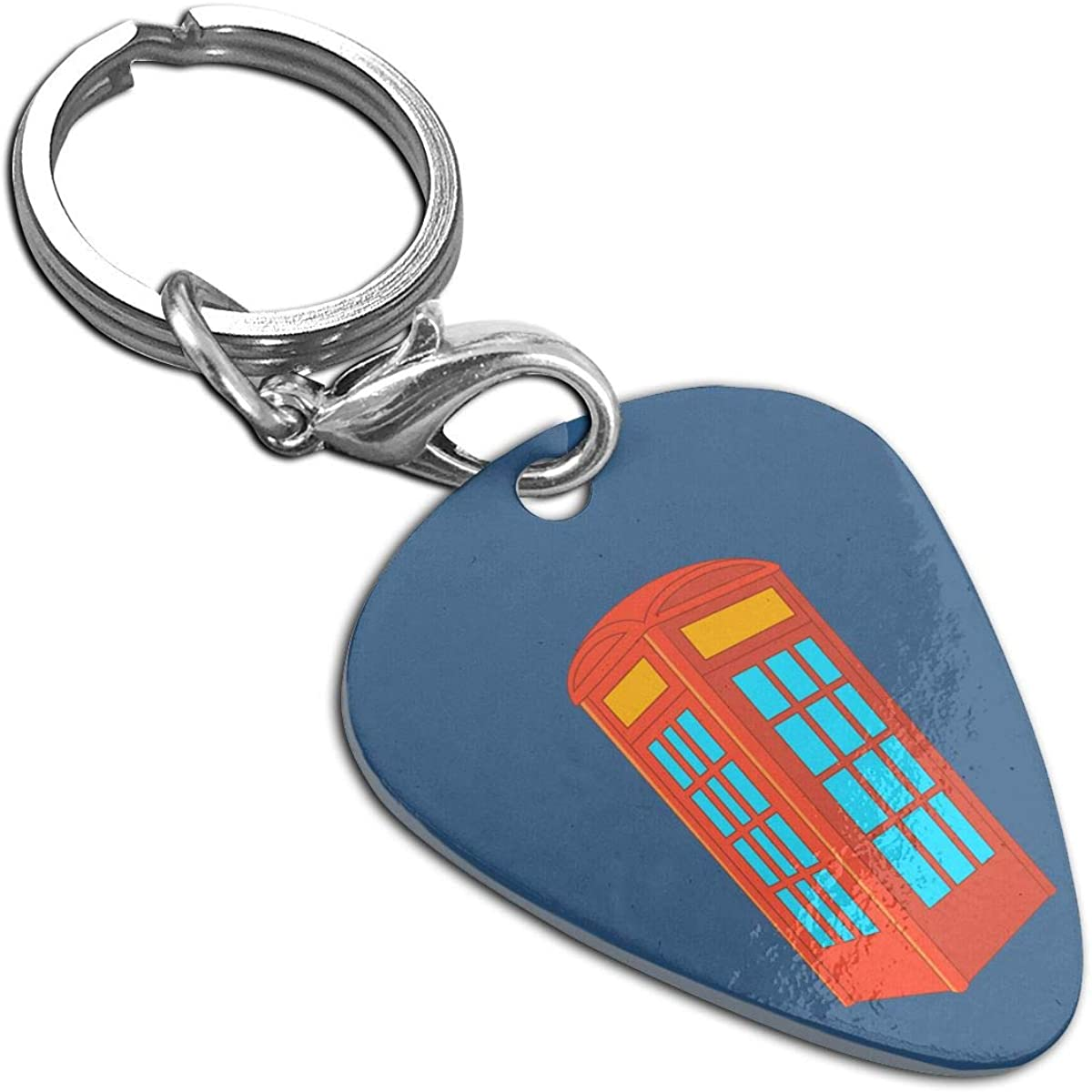Telephone Booth Stainless Steel Guitar Pick Necklace Pendant Keychain