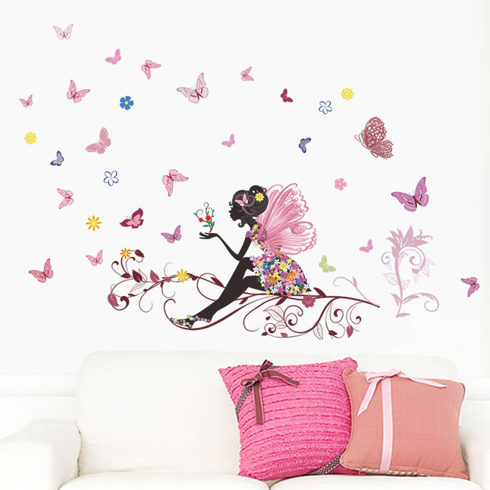 Hallway Pink Decor for Girls Bedroom Transser Removable Environmental Protection Waterproof Stickers Butterfly Flower Fairy Wall Sticker Living Room Room