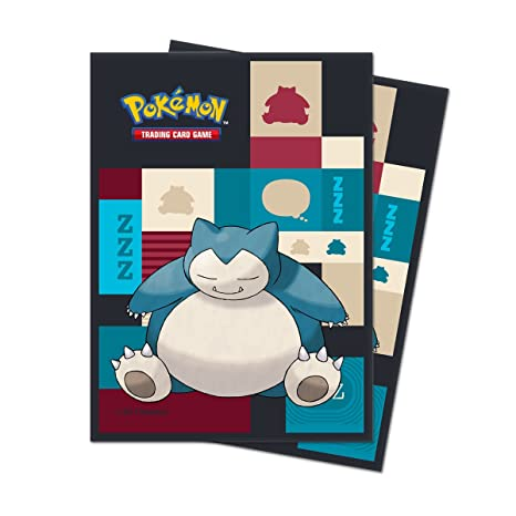 Pokemon JCC- Sleeves Pokémon Snorlax 65c, Color carbón (85525)