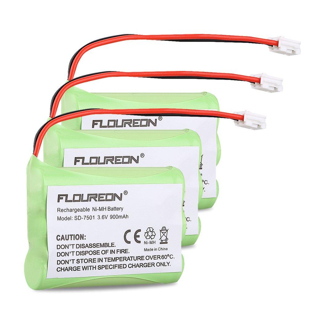 Floureon 3 Packs Motorola SD-7501 Battery 3.6V 900mAh Ni-MH for At&t 89-1323-00-0, 27910 Telephone Replacement Pack