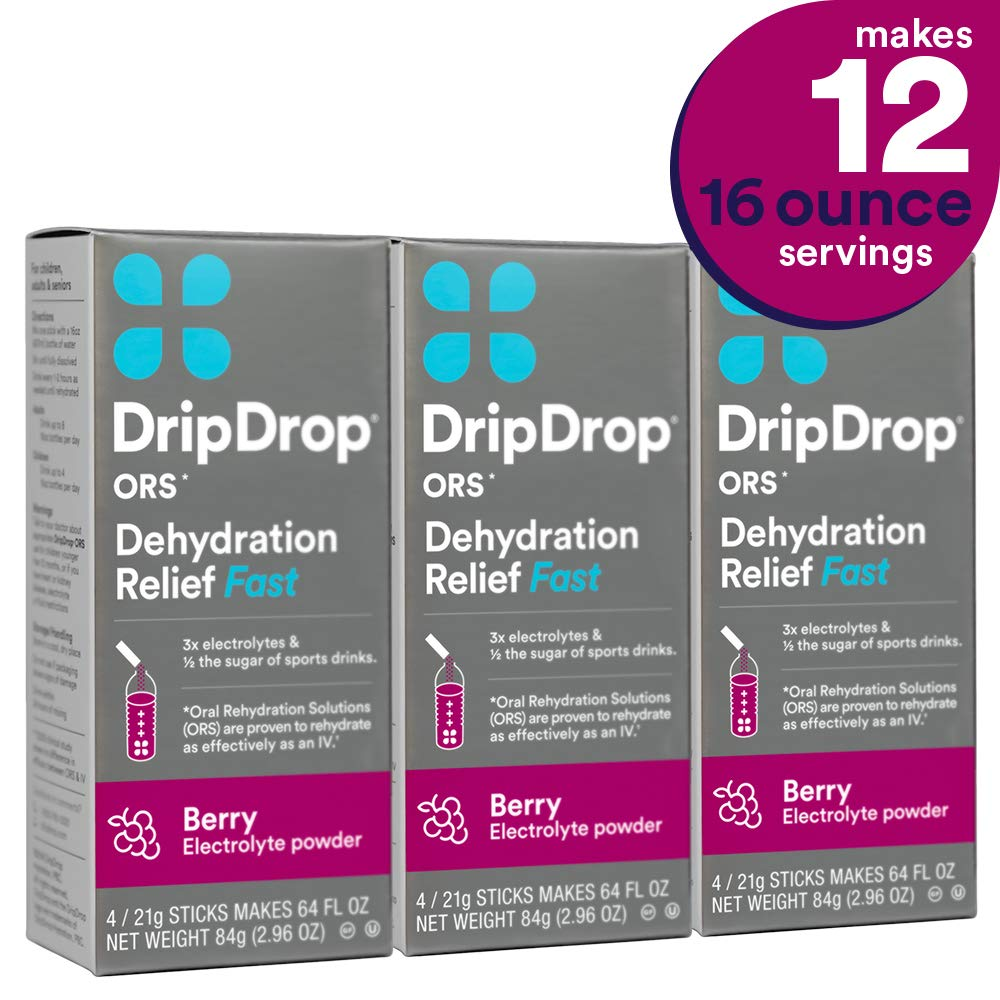 DripDrop ORS Dehydration Relief Fast Electrolyte Powder Sticks, Berry, Individual 21g Sticks, 12 Count