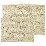 Sweet Home Collection Soft and Absorbent Chenille Noodle Non Skid Back 2 Piece Bath Rug Set, Taupe