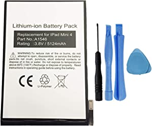 MPF Products 5124mAh A1546, 020-00297 Battery Replacement Compatible with Apple iPad Mini 4 A1538, A1550 with Installation Tools