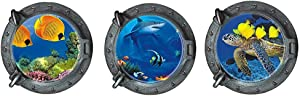 3 Pcs Ocean World Wall Stickers, 3D Window View Round Porthole Shark Turtle Tropical Fishes Peel and Stick Removable Wall Decals for Bedroom Living Room(13 inches x 13 inches)