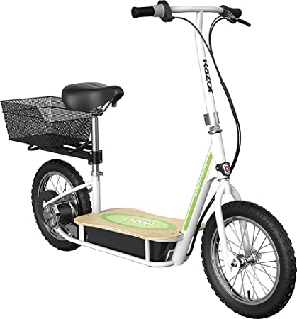 "Razor EcoSmart Metro Electric Scooter – Padded Seat, Wide Bamboo Deck, 16"" Air-Filled Tires, Rear-Wheel Drive"