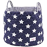 Minene Large Storage Basket with Blue Stars - star storage baskets, round storage baskets, large fabric storage basket - great for toy storage, kids storage and as a laundry hamper