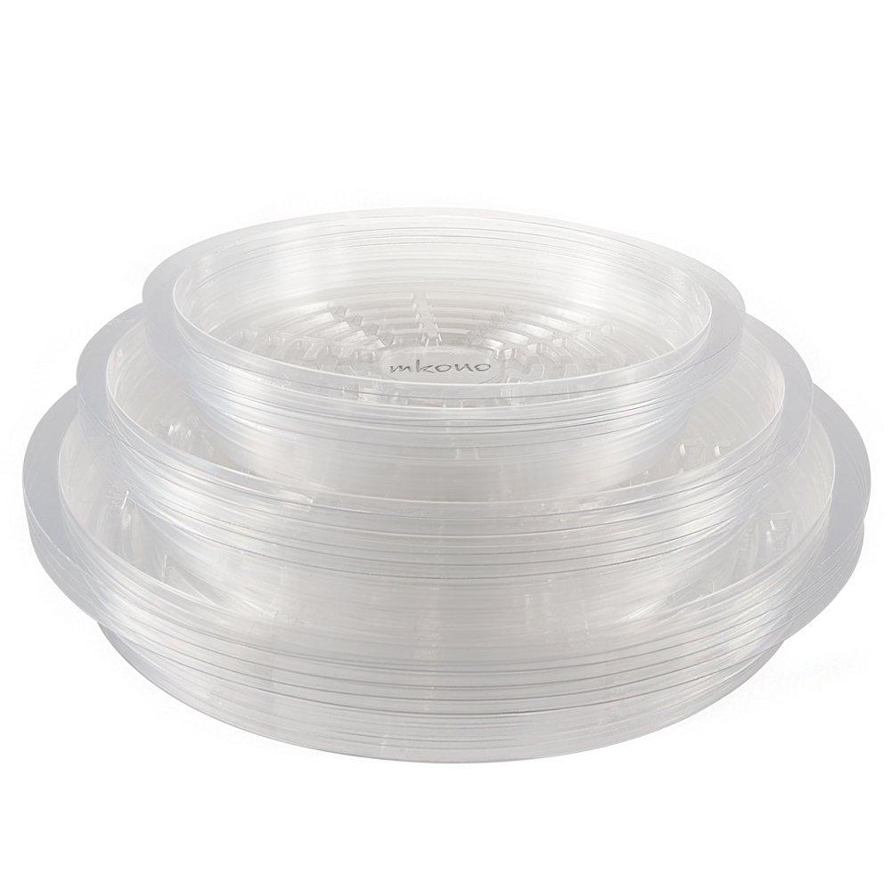 Mkouo Heavy Duty Plant Pot Saucer Flower Pot Tray, Round 25.4cm/30.5cm/34.3cm - Transparent (Pack of 15