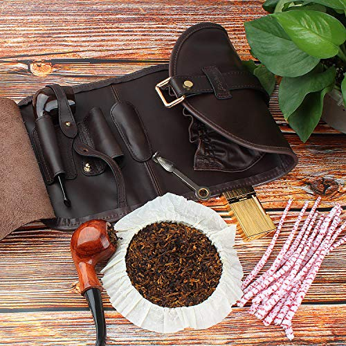 Traditional Brown Genuine Leather Tobacco Smoking Pipe Pouch Bag Organize Case Pipe Tool lighter Holder Pocket for 2 Pipe (black-brown) by Unknown (Image #6)