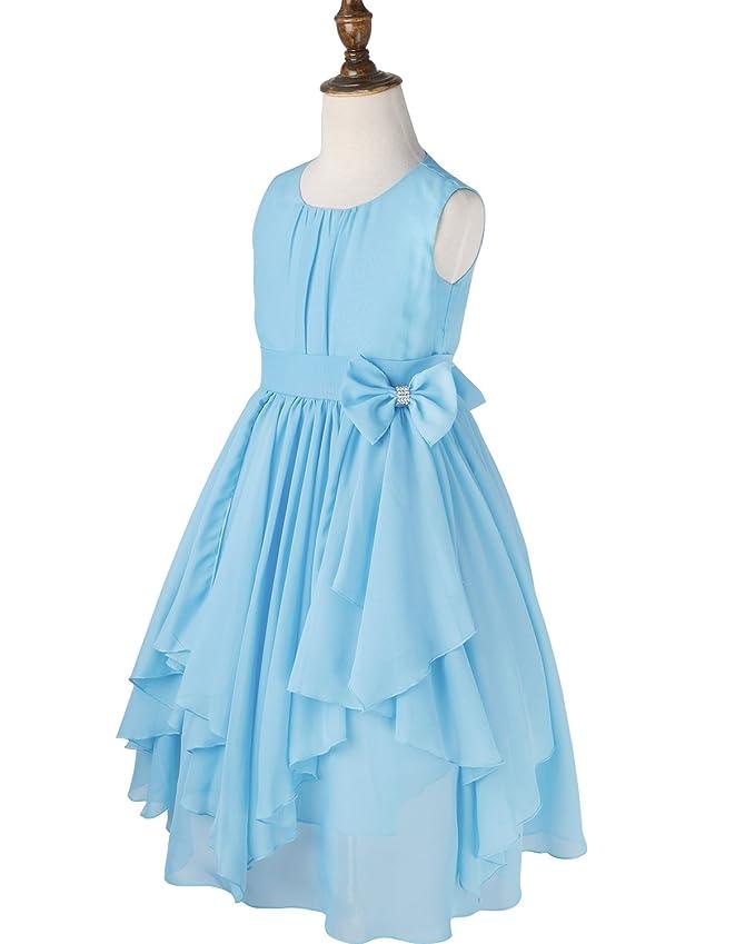 6ae8e3ab5c7 Amazon.com  iEFiEL Kids Big Girl Asymmetric Ruffles Flower Girl Dresses  Outdoor Wedding Bridesmaid Chiffon Dress  Clothing