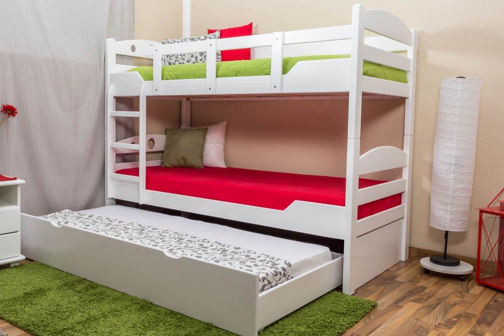 Stockbett mit Bettkasten Easy Sleep K10/h inkl. Liegeplatz und 2 Abdeckblenden, Kopfteil mit Löchern, Buche Vollholz massiv Weiß - Maße: 90 x 200 cm, teilbar