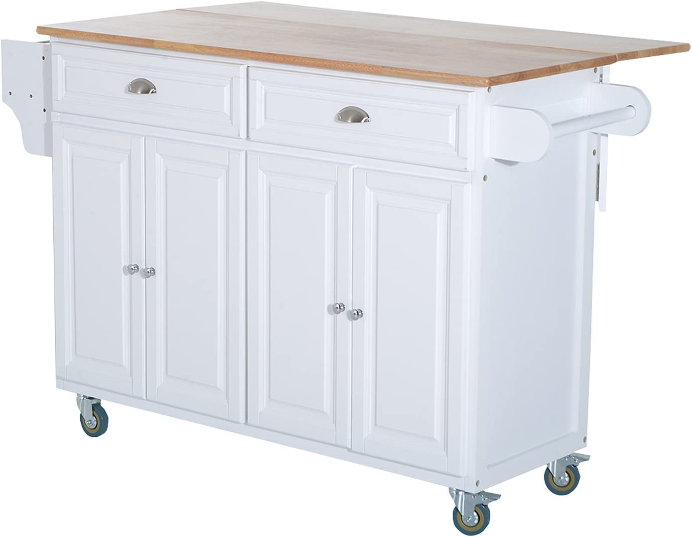 Homcom Rolling Kitchen Island On Wheels Ultility Cart With Drop Leaf And Rubber Wood Countertop Storage Drawer Door Cabinet White Kitchen Islands Carts