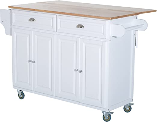 HOMCOM Wood Top Drop-Leaf Rolling Kitchen Island Table Cart on Wheels, White