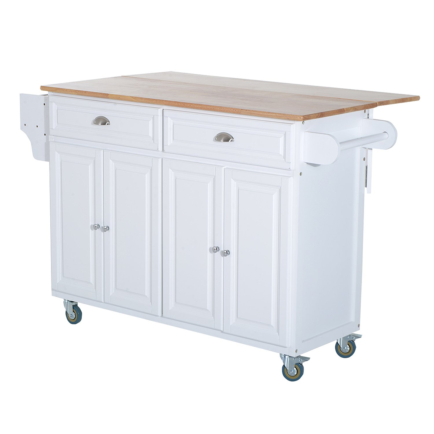 HOMCOM Wood Top Drop-Leaf Rolling Kitchen Island Table Cart on Wheels, White