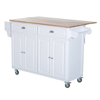 HOMCOM Wooden Top Drop Leaf Rolling Kitchen Island Table Cart Storage  Cabinets   White