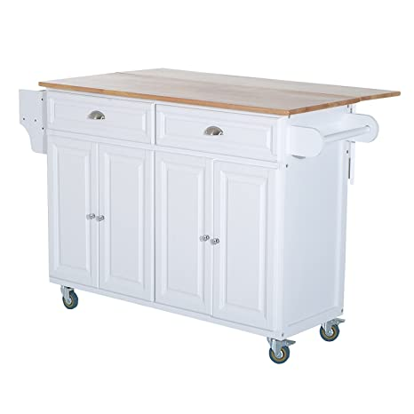 Homcom Wood Top Drop Leaf Multi Storage Cabinet Rolling Kitchen Island Table Cart With Wheels White