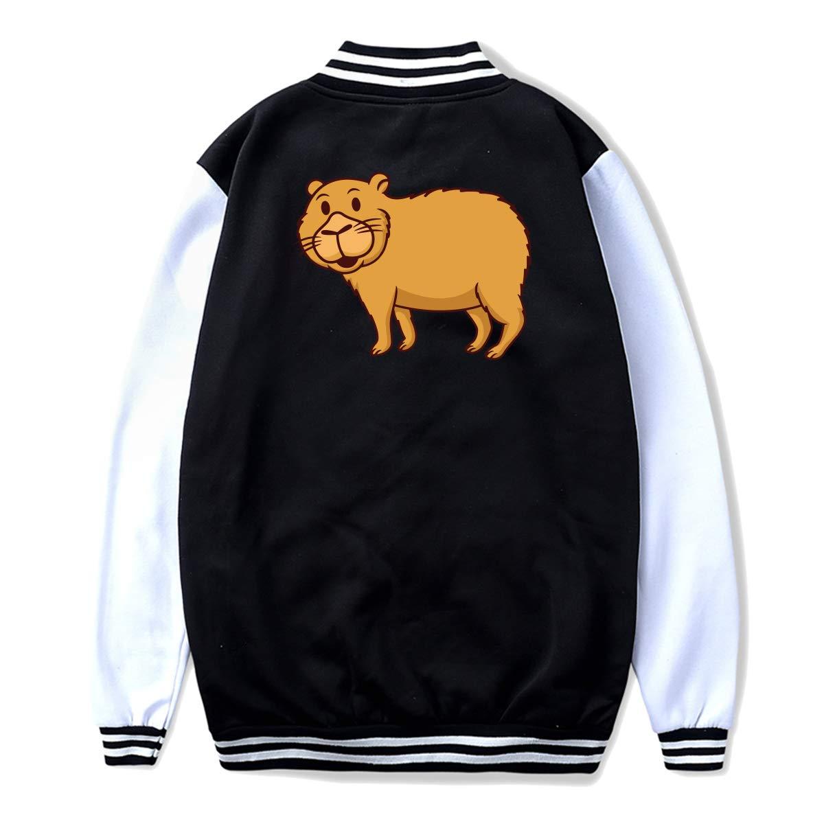 Back Print NJKM5MJ Unisex Youth Baseball Uniform Jacket Capybara Cartoon Coat Sport Outfit