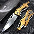 New M-Tech Spring Assisted Gold/Silver Aluminum Tactical Rescue Pocket Eco'Gift LIMITED EDITION Knife with Sharp Blade!