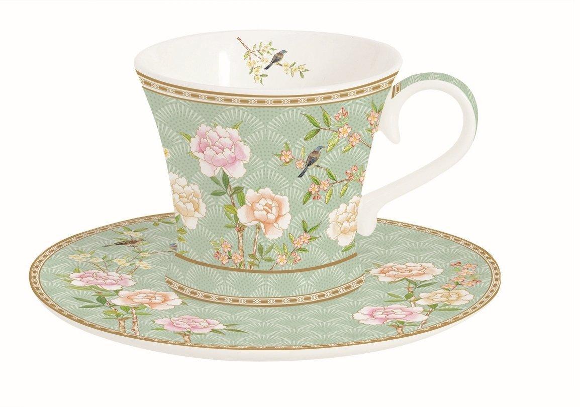 Porzellan 13 x 13 x 10 cm Easy Life Palace Garden Aqua 2 Espresso Tassen Set Mehrfarbig