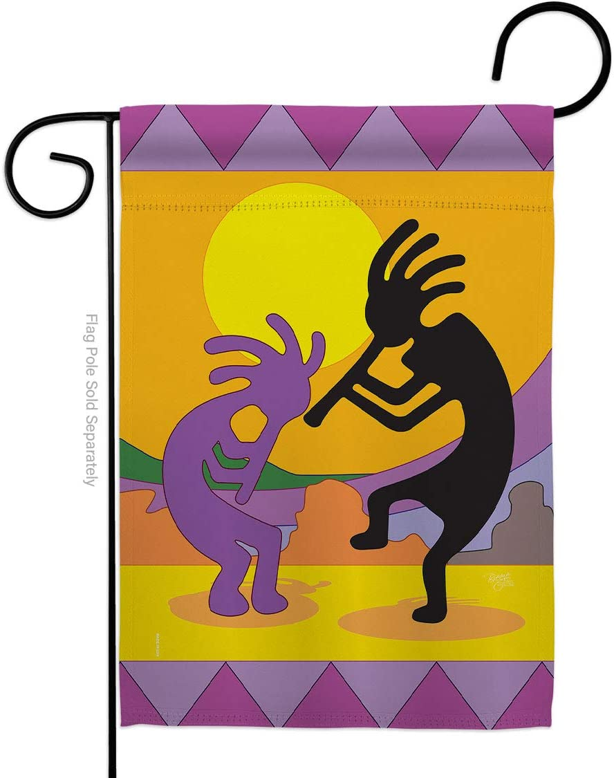 Breeze Decor Kokopelli Garden Flag Regional Southwest Desert Cactus Country Succulent Particular Area House Decoration Banner Small Yard Gift Double-Sided, Made in USA