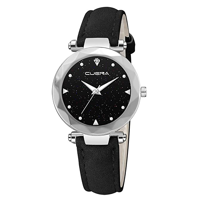 BBestseller Reloj de Pulsera Elegante para Mujer CUENA Relojes de Cuarzo con Correa de Cuero de Segunda Mano para Mujer (Negro): Amazon.es: Relojes