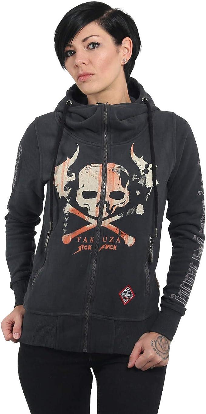 YAKUZA Damen Flying Skull Zip Hoodie GHZB-13112 Dark Shadow Dunkelgrau