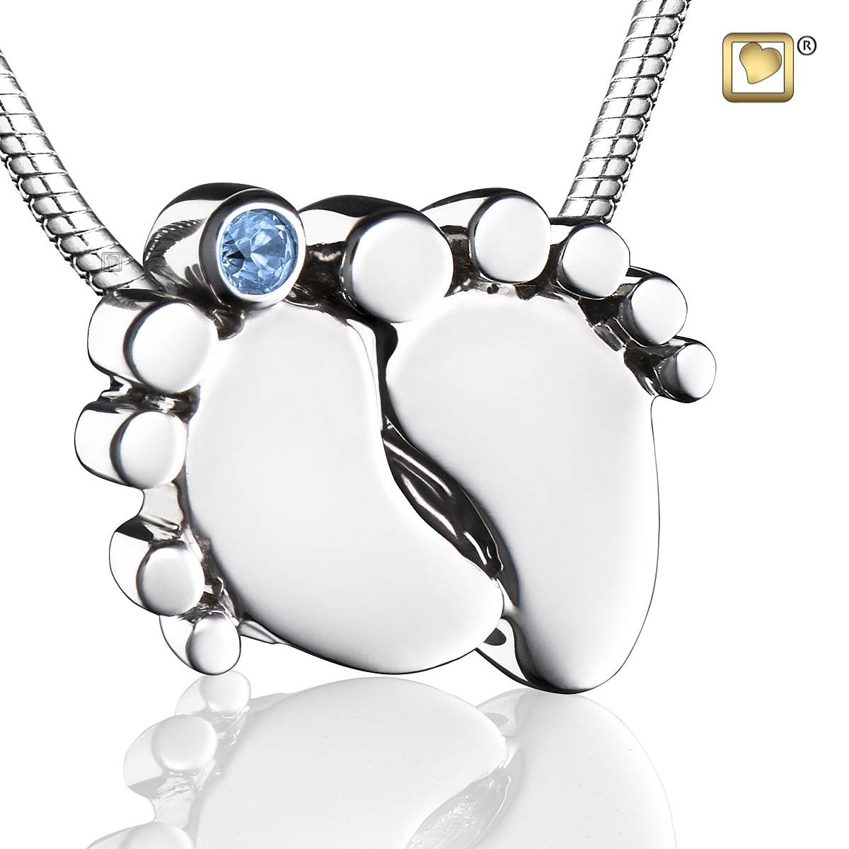 Baby Feet With Blue Crystal Rhodium Plated Pendant by LoveUrns