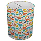 Hardback Linen Drum Cylinder Lamp Shade 8'' x 8'' x11'' Spider Construction [ Colourful Animal Silhouettes ]