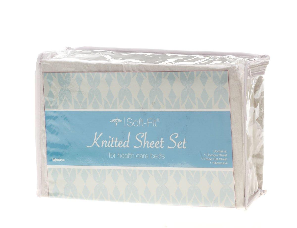 Medline MDTDEALERPK2 Soft-Fit Knitted Dealer Pack Sheet Set, Twin, White (Case of 1)