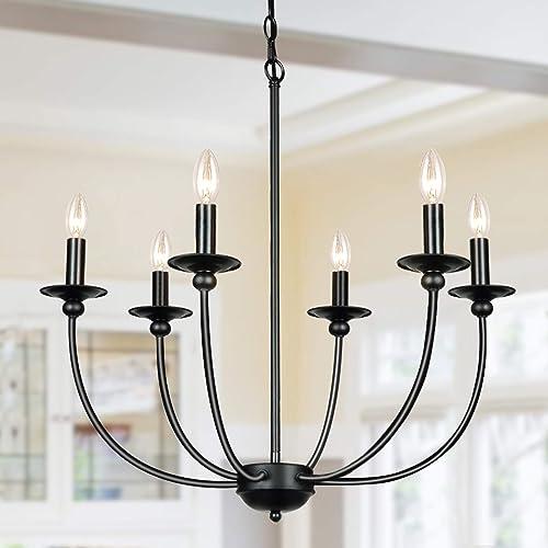 Derksic Black Farmhouse Chandelier 6-Light Wrought Iron Chandelier Rustic Candle Ceiling Pendant Light Fixture
