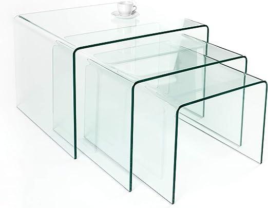 Invicta Interior Juego de 3 Cristal Mesa Ghost 60 cm – Mesas ...