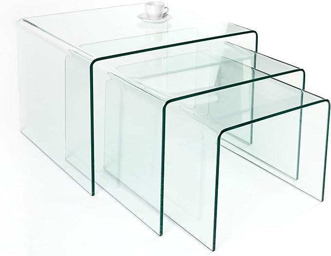 Invicta Interior Juego de 3 Cristal Mesa Ghost 60 cm – Mesas auxiliares (Cristal Transparente Mesa Mesas: Amazon.es: Juguetes y juegos