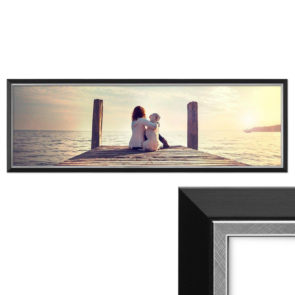 PHOTOLINI Panorama-Bilderrahmen 30x90 cm Schwarz Modern mit ...
