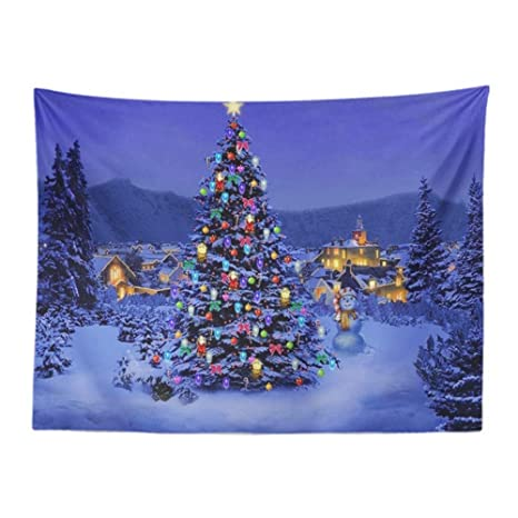 Tapiz Papá Noel Feliz Navidad Tapices Muñeco De Nieve Ciervo ...