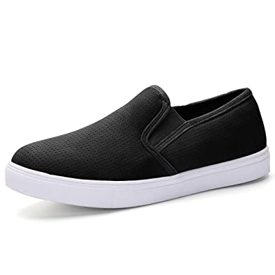 780d218baba XMWEALTHY Women s Slip Ons Casual Shoes Perforated Fashion Sneakers Flat  Shoes Black Walking Shoes for Women