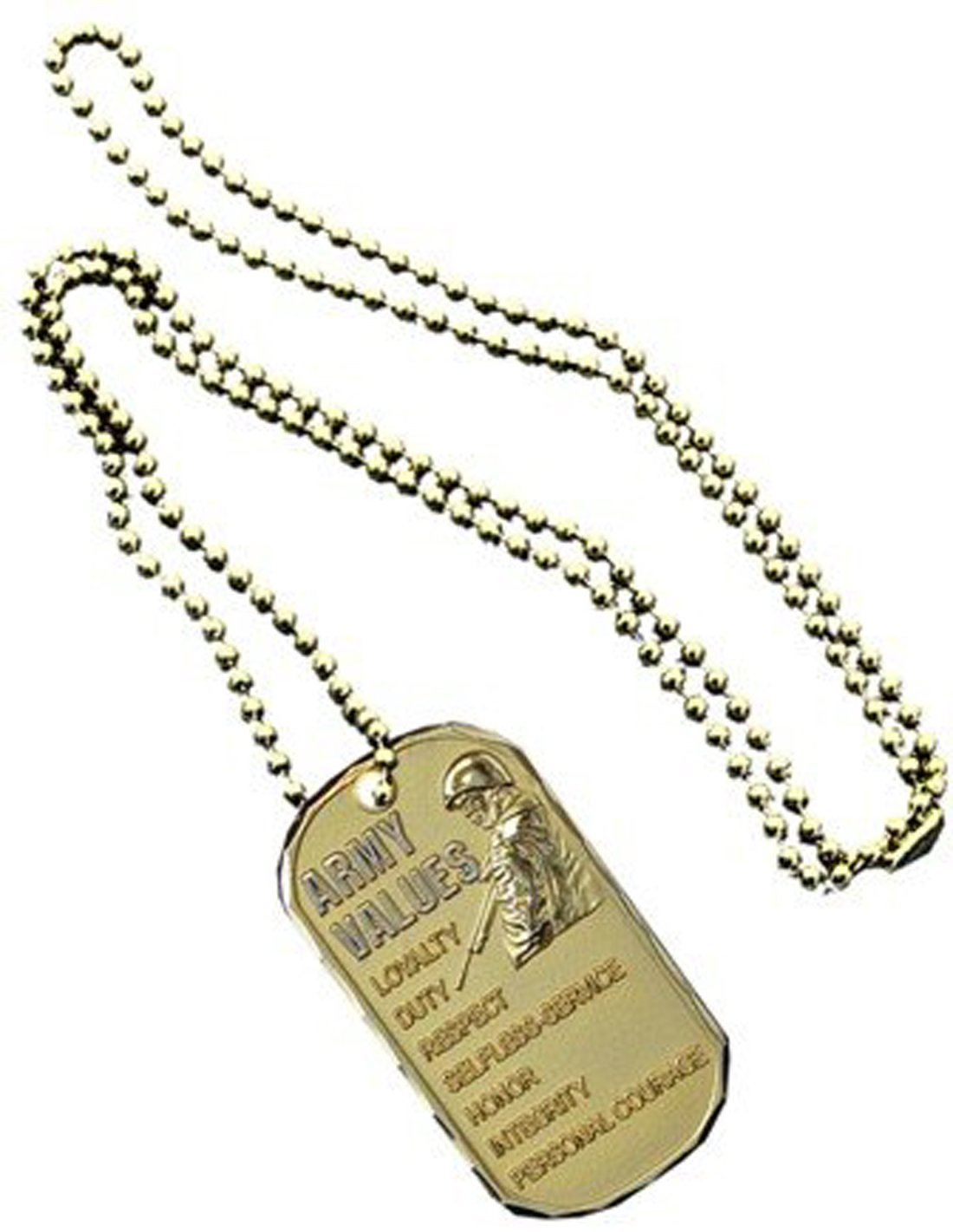 Dog Tag Key Chain Necklace US Military Army Values