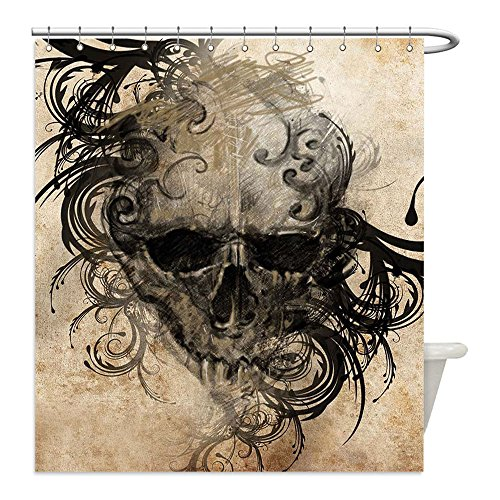 Liguo88 Custom Waterproof Bathroom Shower Curtain Polyester Tattoo Decor Revenge Fierce Faced Skull Triplets with Romantic Detail of Rose Image Black and White Decorative (Easy Triplet Costume Ideas)