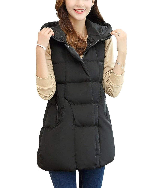 BOLAWOO Gilet Trapuntato Donna Smanicato Incappucciato Lunga Gilet Invernali Mode di marca Monocromo Allentato Eleganti Termico Calda Giacca Di Transizione Outerwear Giaccone None