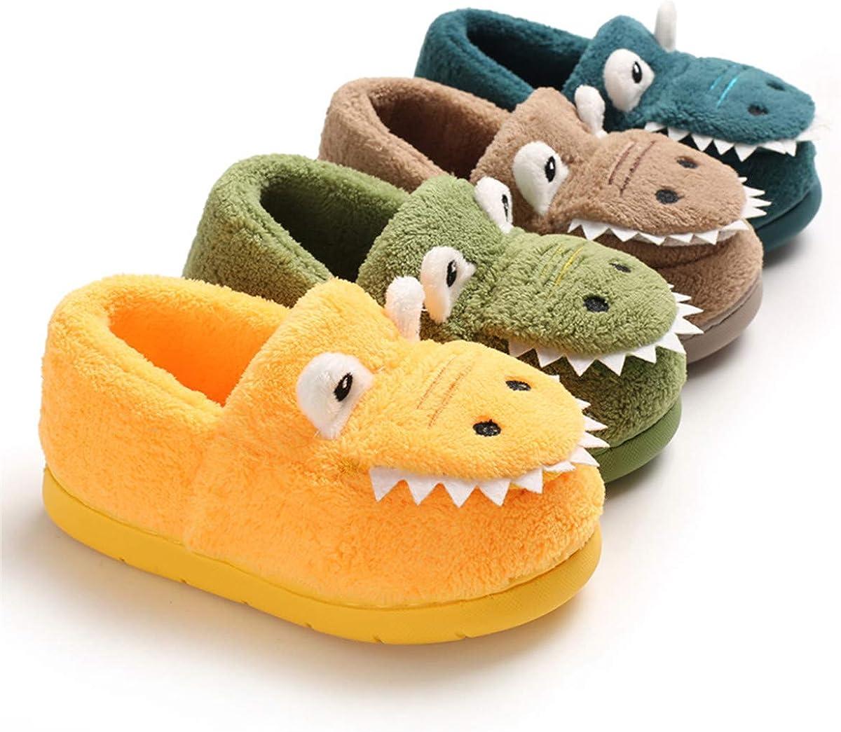 BENHERO Toddler Kids Boys Girls House Slippers Cartoon Dinosaur Winter Warm Indoor Bedroom Shoes