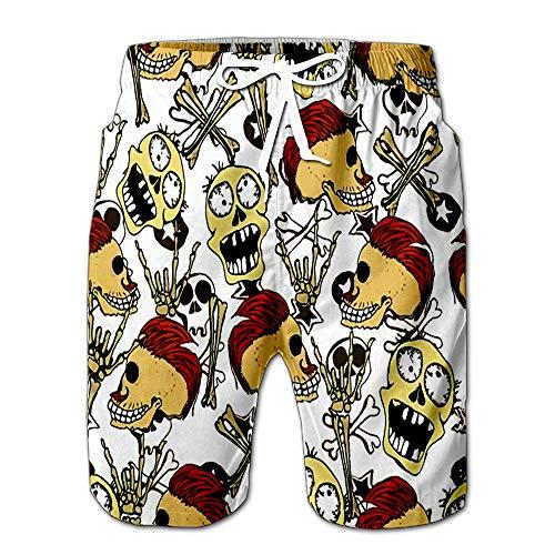 Halloween Scary Monsters Bones Skulls and Zombie Cute Drawstring Shorts Beach Baskestball Pants L