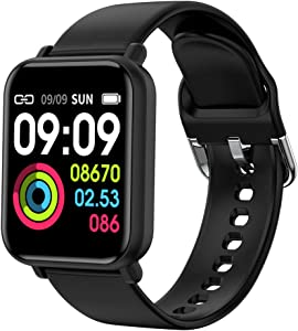 "ANHAO Smart Watch Fitness Trackers Waterproof Sport Watch with Heart Rate Blood Pressure Sleep Monitor Smartwatch Compatible with iPhone Samsung Android Phones 1.3"" Touch Screen for Women Men Kids"