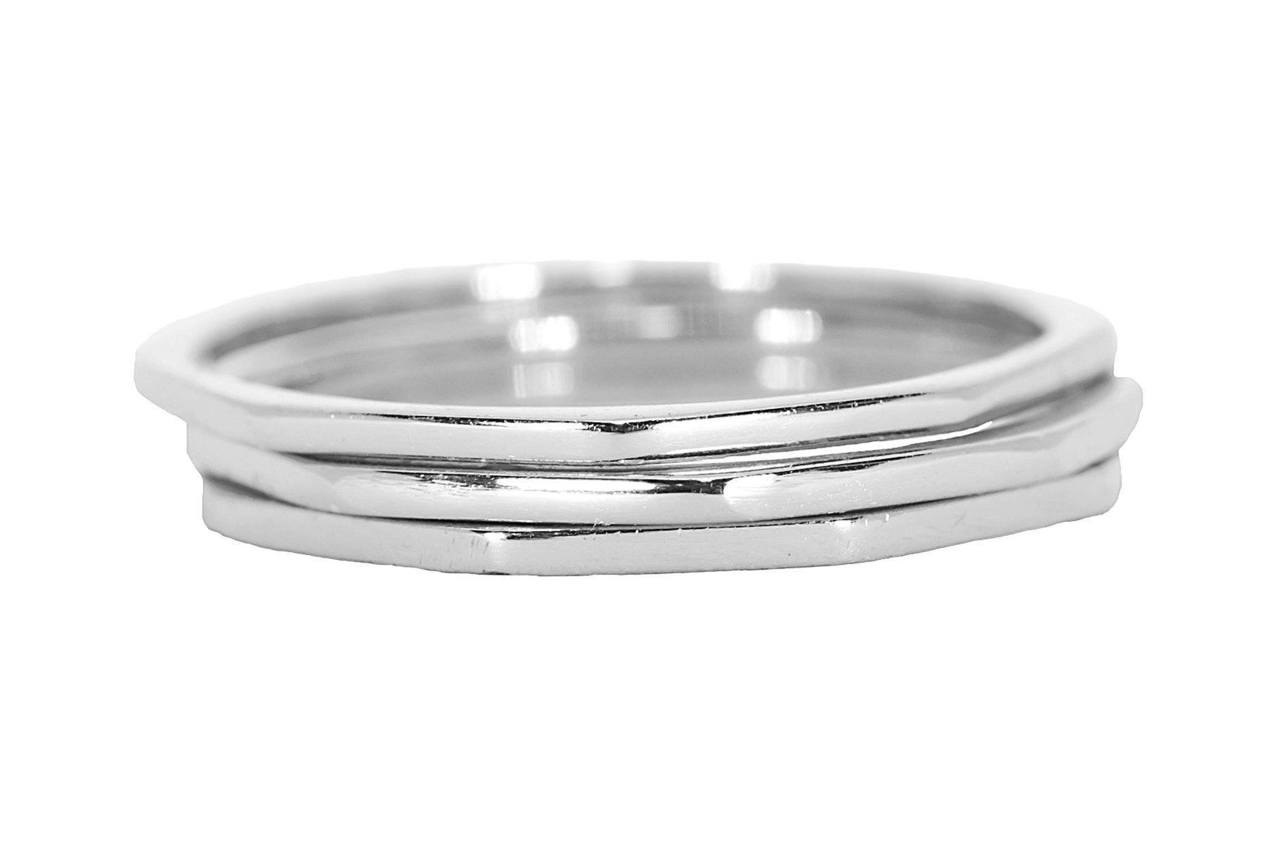 Pura Vida Silver Delicate Stacked Rings - Brass Base .925 Sterling Silver - Size 6