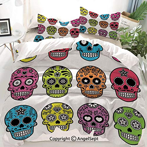Skull Decor Duvet Cover Set Full Size,Ornate Colorful Traditional Mexian Halloween Skull Icons Dead Humor Folk Art,Decorative 3 Piece Bedding Set with 1 Pillow Shams -