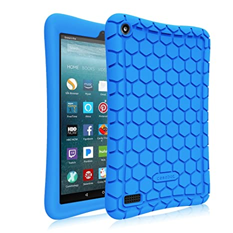 Fintie Silicone Case for Amazon Fire 7 Tablet (Previous Generation - 7th, 2017 Release) - [Honey Comb Upgraded Version] [Kids Friendly] Light Weight ...