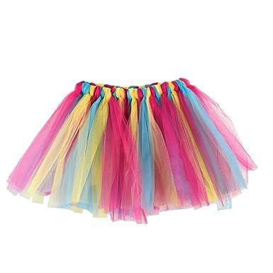 QinMM Falda Niña Chicas Enaguas Arco Iris Tutú Vistoso Vestir Ropa de Baile Costume (A): Amazon.es: Ropa y accesorios